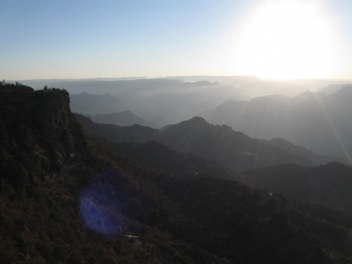 Sunrise view in Copper Canyon, Mexico from Mansion Tarahumara
