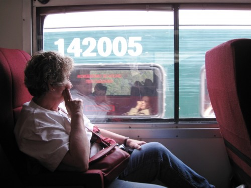 Relaxing as another train passes. We give a full experience on the train