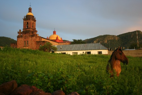 The old church in Cerocahui- the mission dates to the late 1500s. We prefer the San Isidro Lodge, high in the hills behind the church.