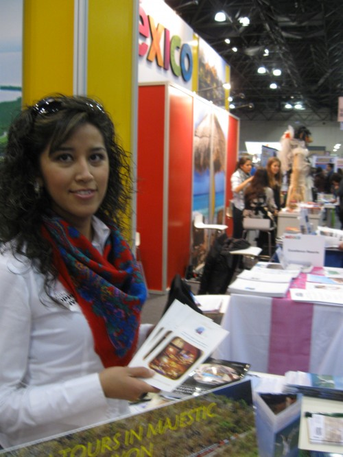 Diana Acosta, one of our excellent guides in Casas Grandes,  at the New York Times Travel Show.