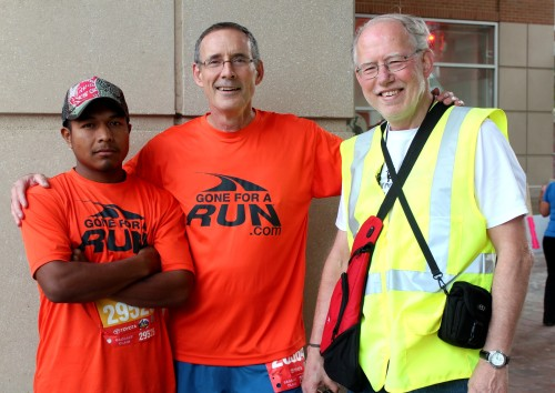 Miguel, Dave Hensleigh, and Bob Roncker before the 10K.